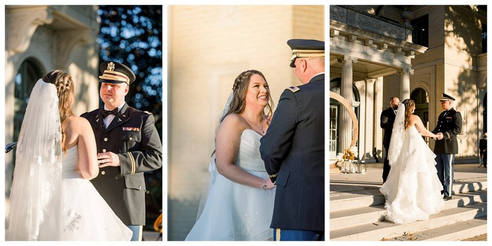 Bride and groom at alter in Tulsa Garden Center wedding- Mansion at Woodward Park