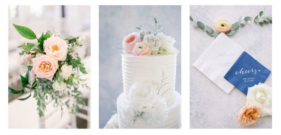 Floral arrangements for ceremony, white wedding cake , and other napkins.