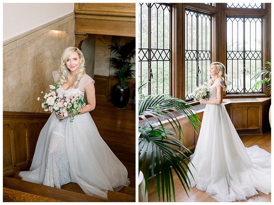 Bridal session portraits of Bride, at Harwelden Mansion in Tulsa Ok