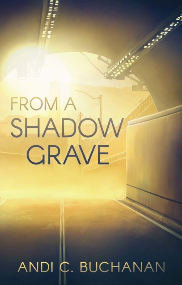 """cover of """"From a Shadow Grave"""" which is from within a road tile depicting sunlight and a city scene on the other side"""