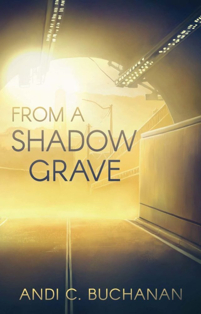 "cover of ""From a Shadow Grave"" which is from within a road tile depicting sunlight and a city scene on the other side"