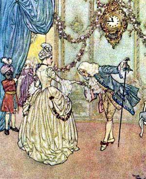 Ilustraţie cu Cenuşăreasa şi printul
