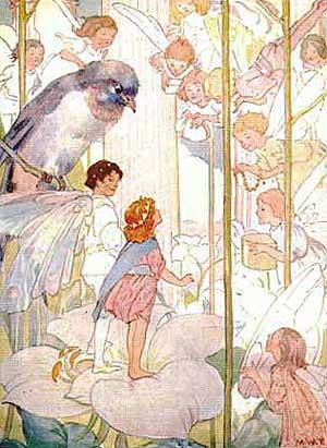 Ilustraţie cu Degeţica şi spiritele florilor