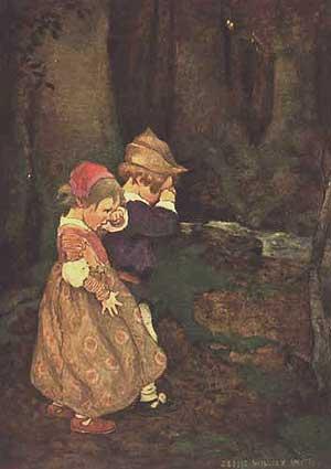 Imagine cu Hansel si Gretel pierduţi în pădure
