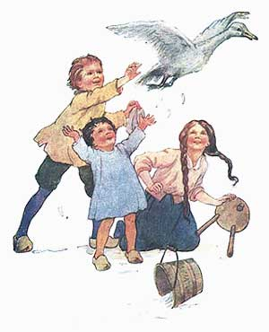 Ilustratie cu ratoiul si copiii taranului