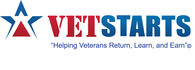 "VetStarts logo & slogan ""Helping Veterans Return, Learn, and Earn"""