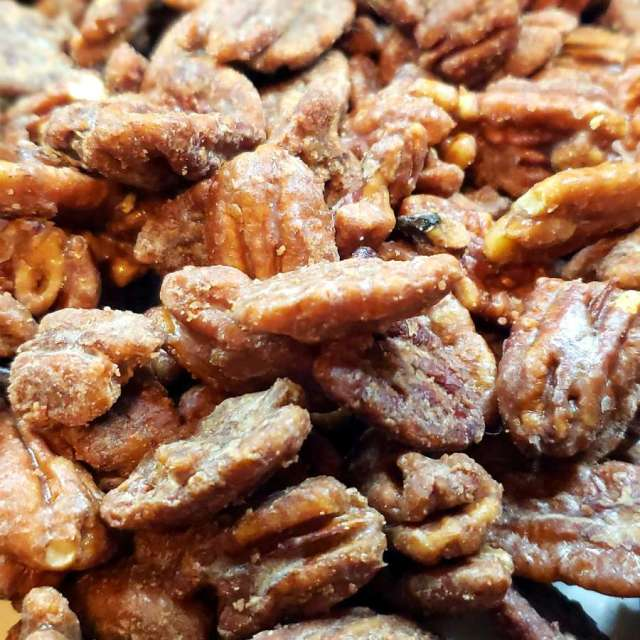 A fresh cooked batch of And I Like It Candied Keto Pecans before being packaged