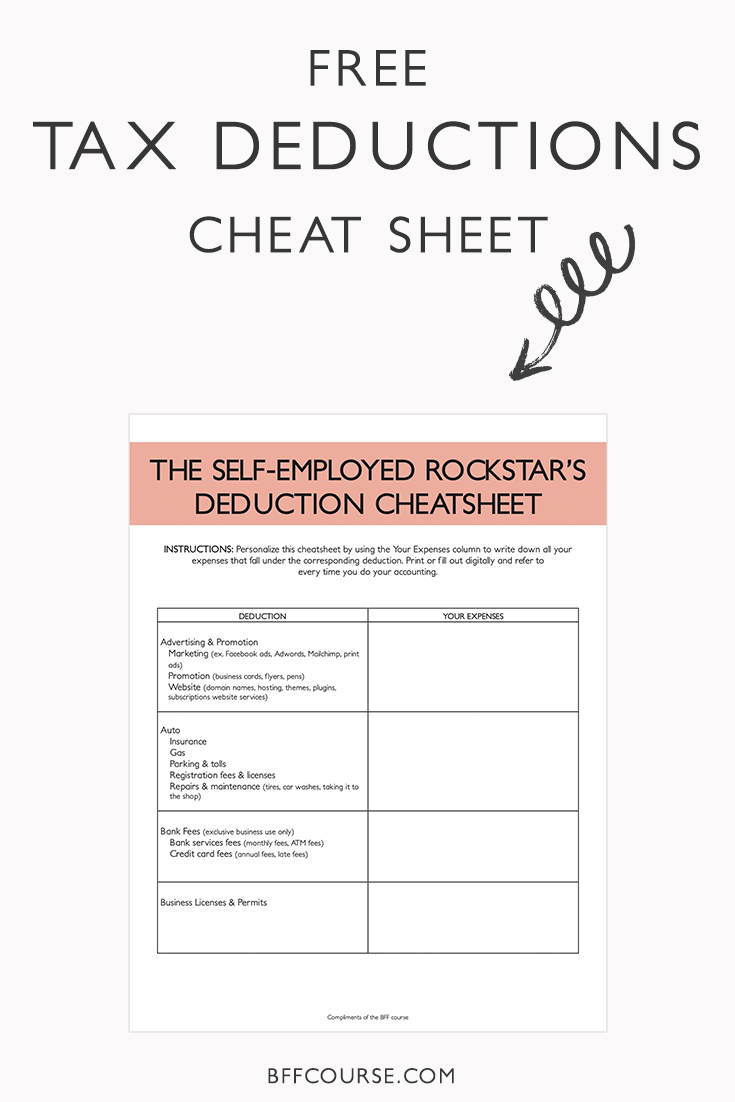 Worksheets Self Employment Tax And Deduction Worksheet the epic cheat sheet to deductions for self employed rockstars