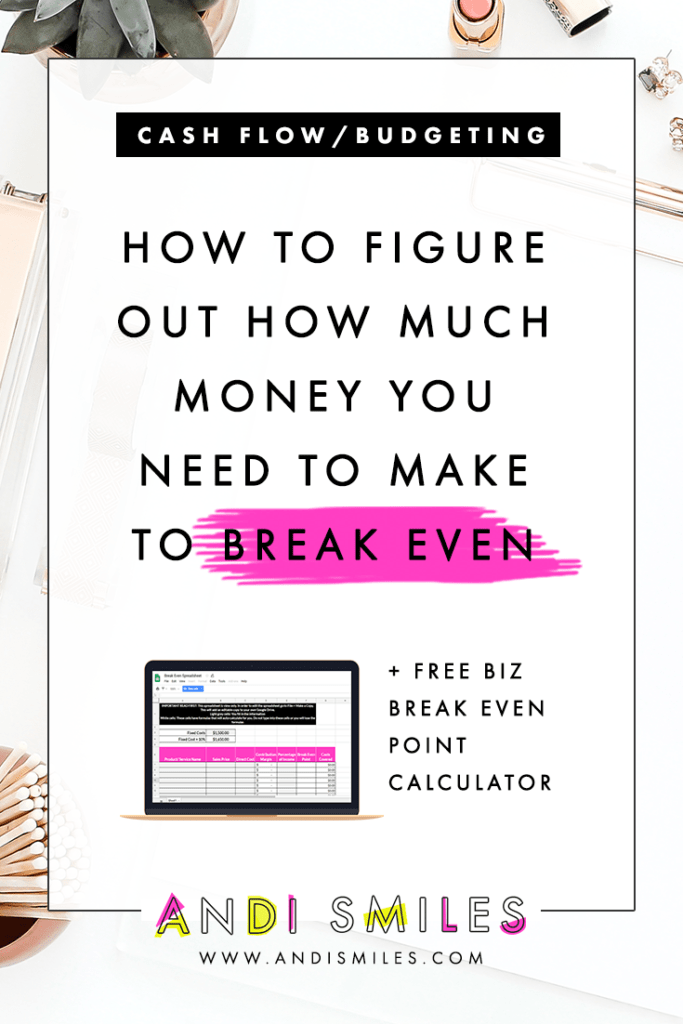 Your break-even point is how much you need to sell in your business in order to cover your operating costs. Knowing the break even point for your small business helps you price your products and services, manage big inflows of money, make better spending decisions, and pay yourself! Click through to learn how to calculate how much you need to make to break even and get the free break even point calculator. #smallbusinessfinances #financialtips