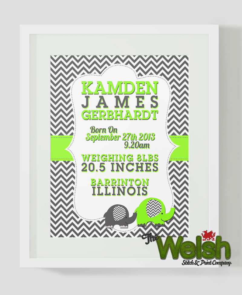 Personalised Birth Print for Kamden: By Factory, Digital Agency In Manchester