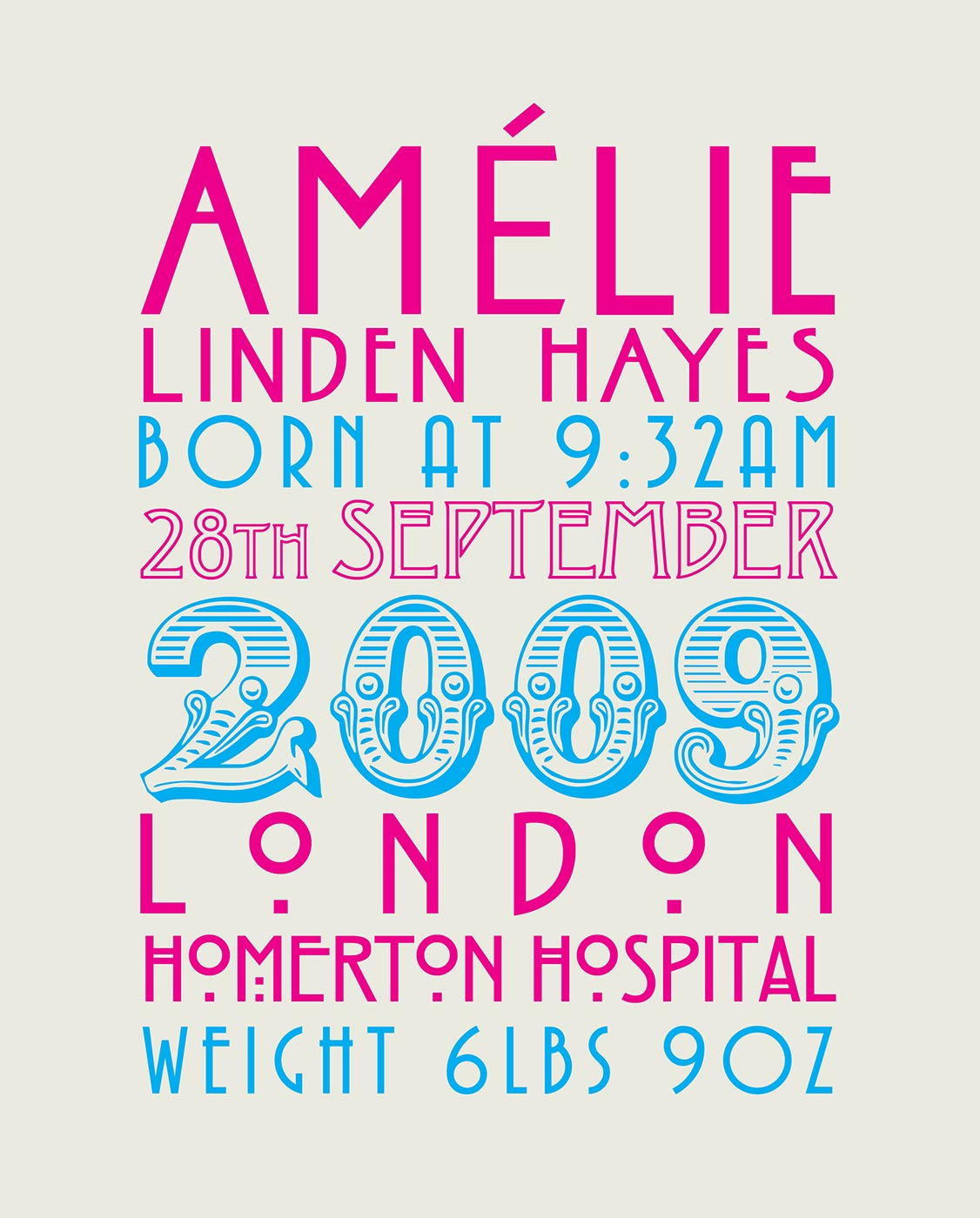 Amelie Birth Print: By Factory, Digital Agency In Manchester