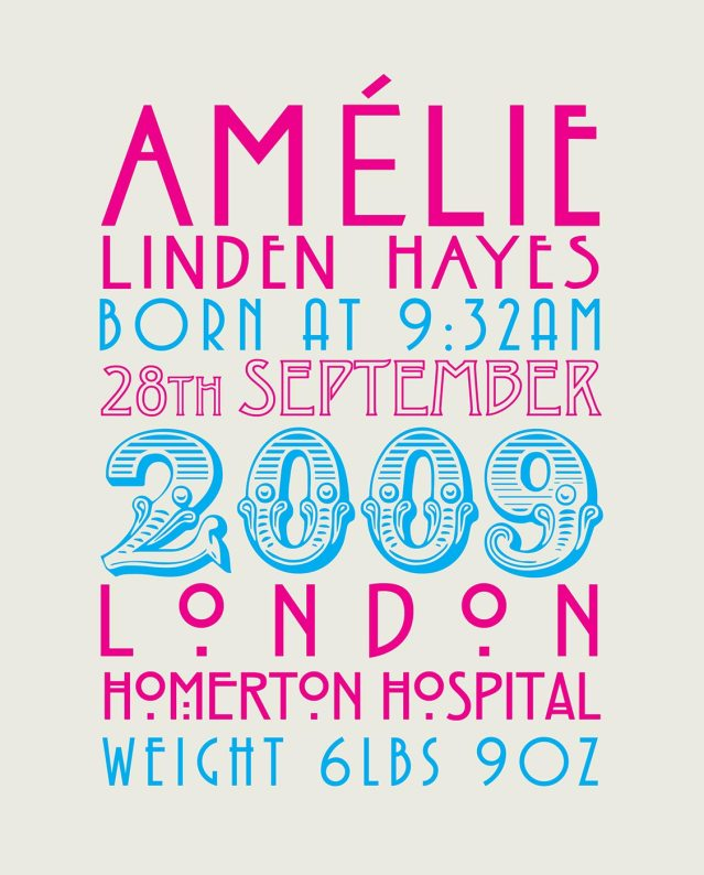 amelie birth print
