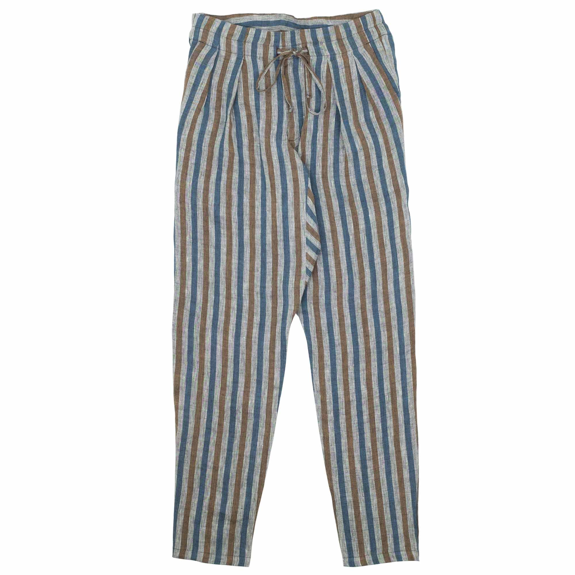 Drop Crotch Pants Linen Stripe 1