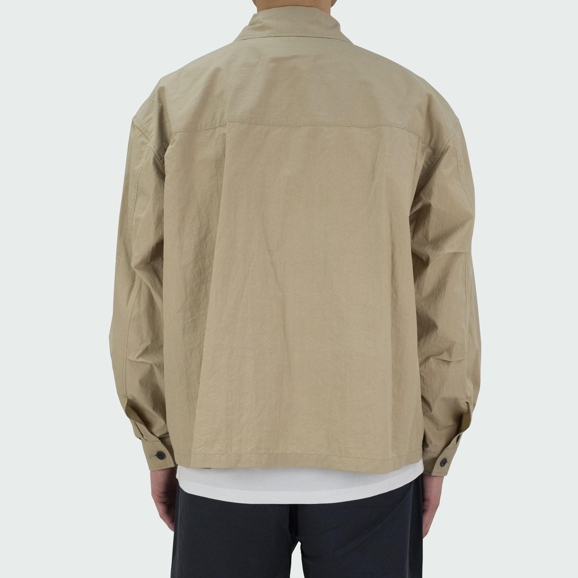 Zip Up Shirt Jacket Beige 4