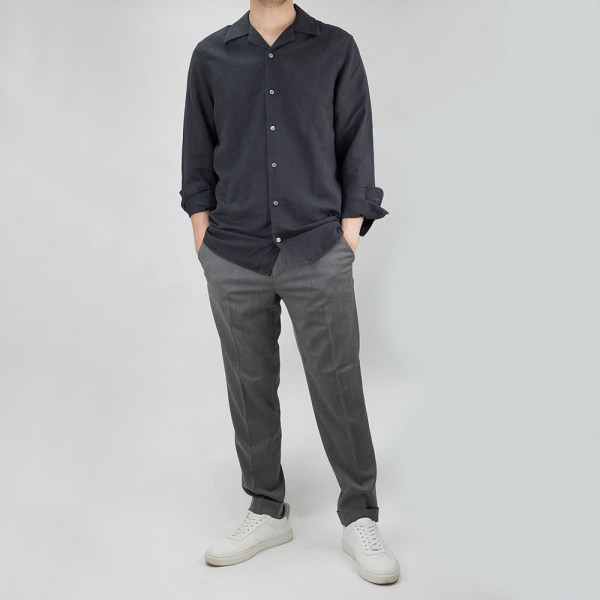 Filippa K Jean-Paul Linen Shirt - Ink Grey 9