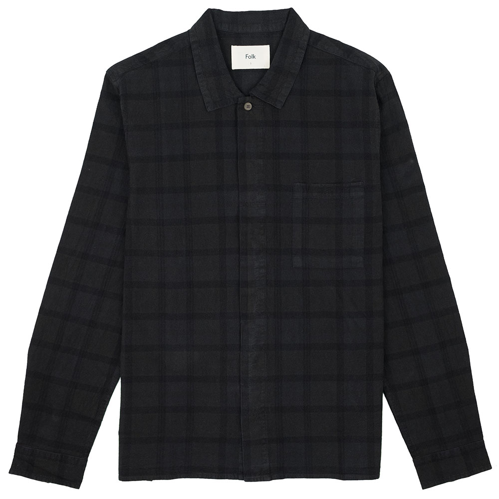 Folk Patch Shirt - Black Overdyed Check