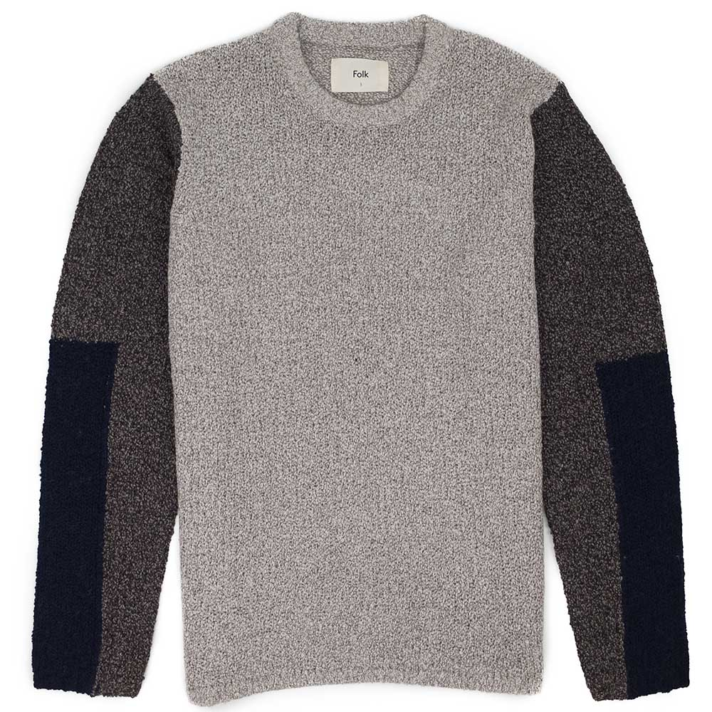 Folk Textured Crew - Stone Black Multi