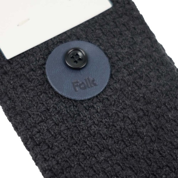 Folk Waffle Socks - Charcoal