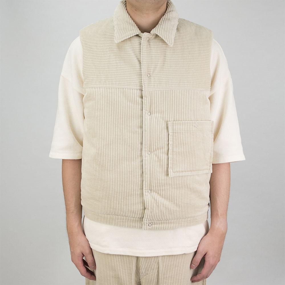 Kuro Cotton Padding Vest - Ivory