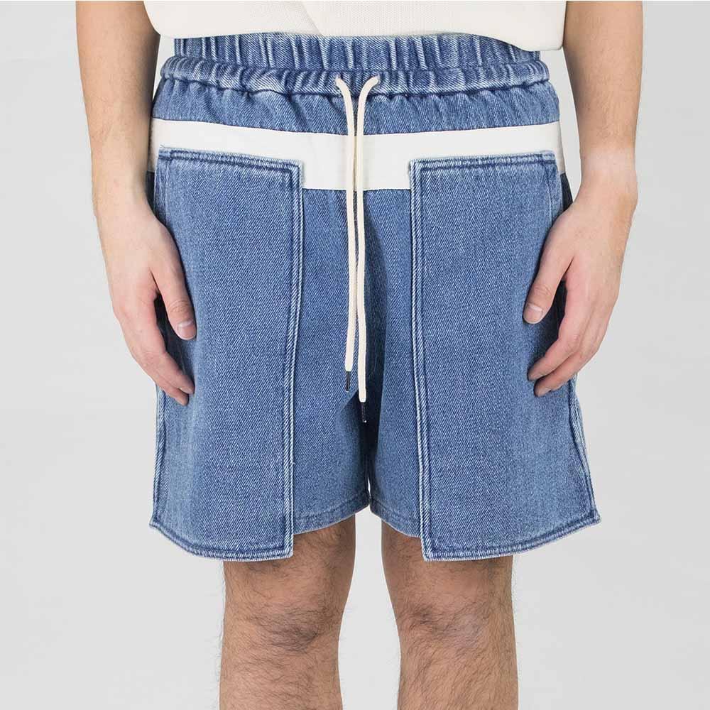 Kuro Loose Denim Baker Shorts - Faded Indigo