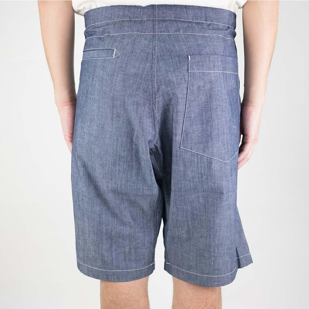Monitaly Drop Crotch Shorts - Chambray