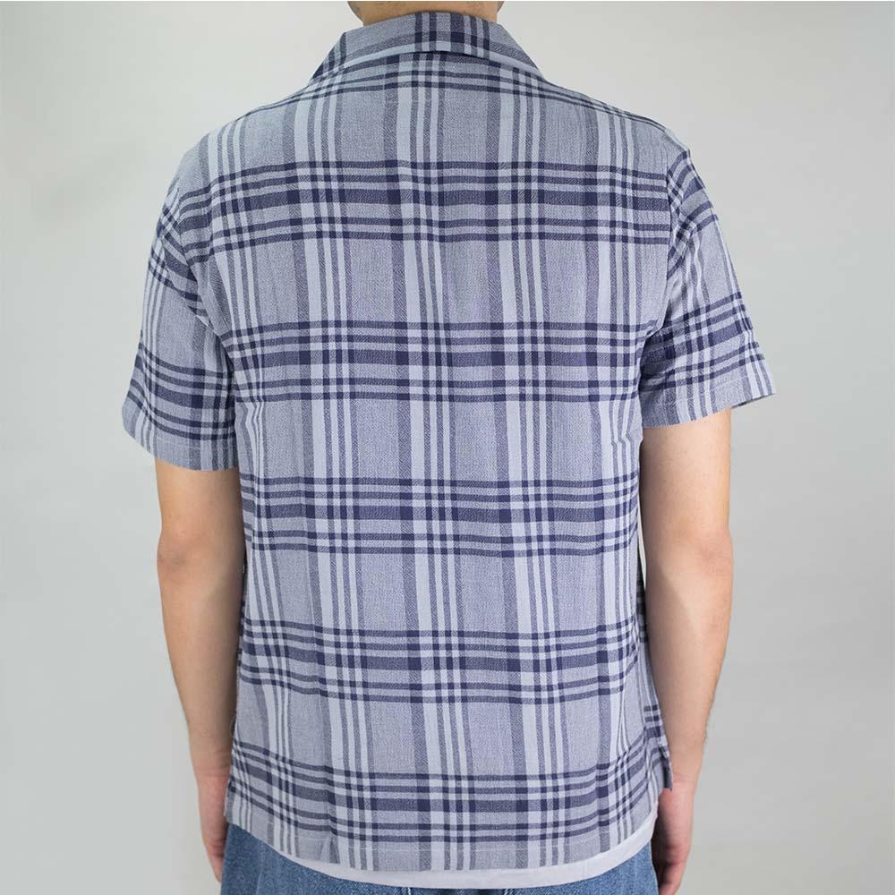 Folk SS Soft Collar Shirt - Mist Overdyed Crepe Check