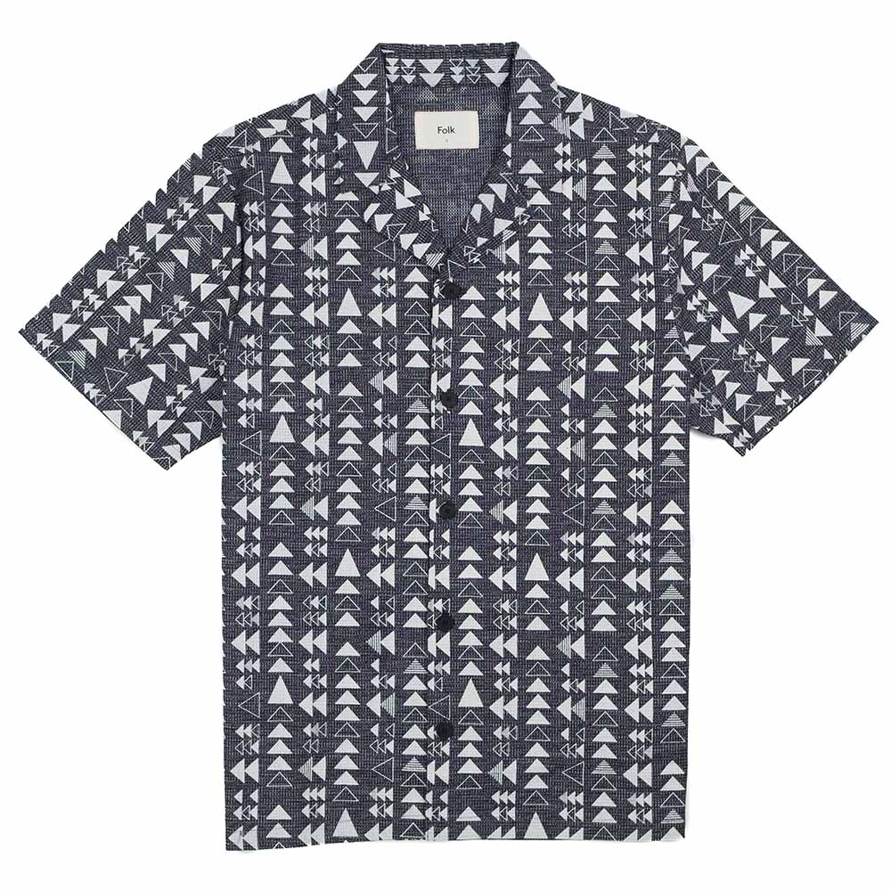 Folk SS Soft Collar Shirt - Tile Print White