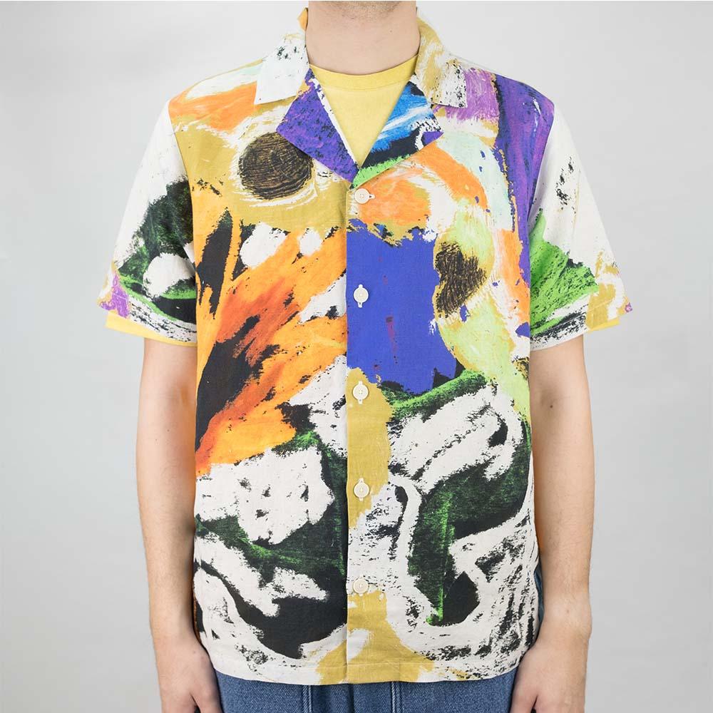 Folk x Alfie Kungu SS Soft Collar Shirt - Marigold Multi Flare Print