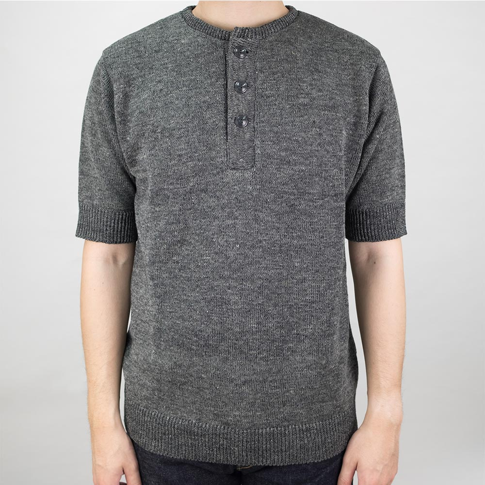 Stevenson Overall Co Knit Henley - Charcoal
