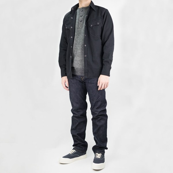 Stevenson Overall Co Knit Henley - Charcoal