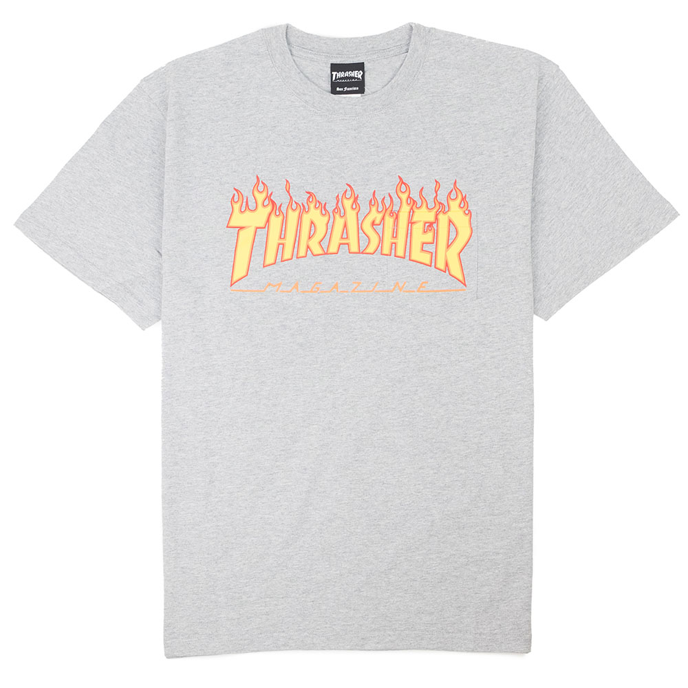 Thrasher (Japan) Burning Over S/S Pocket T-Shirt - Heather Grey