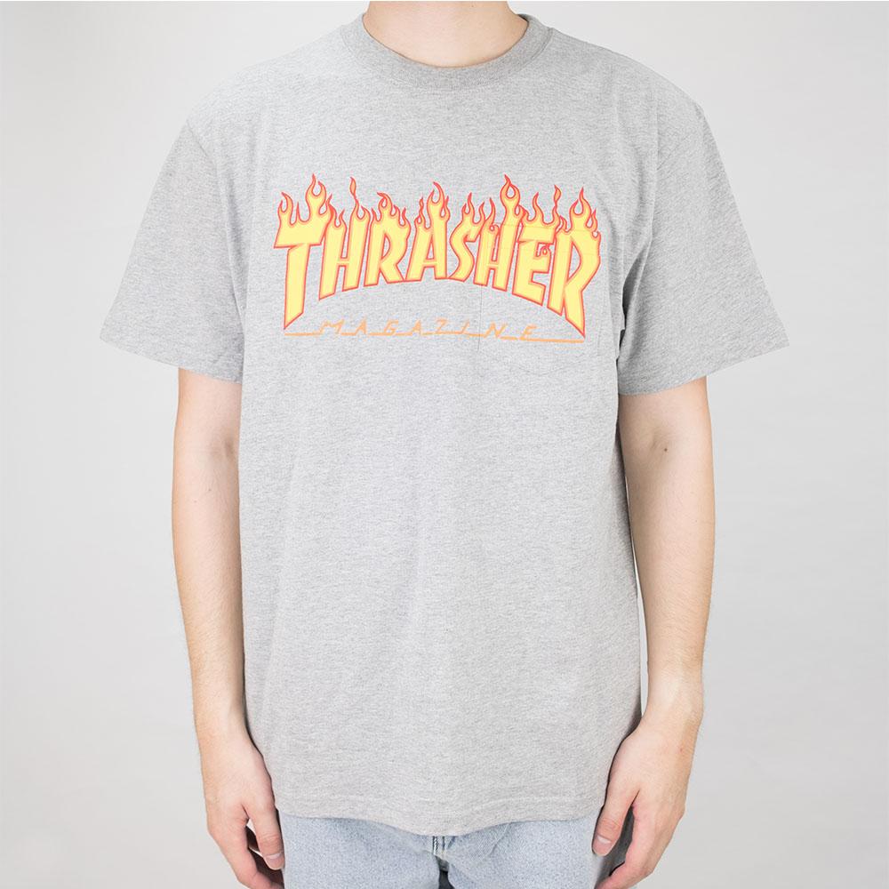 Thrasher (Japan) Burning Over S/S Pocket T-Shirt - Heather Grey