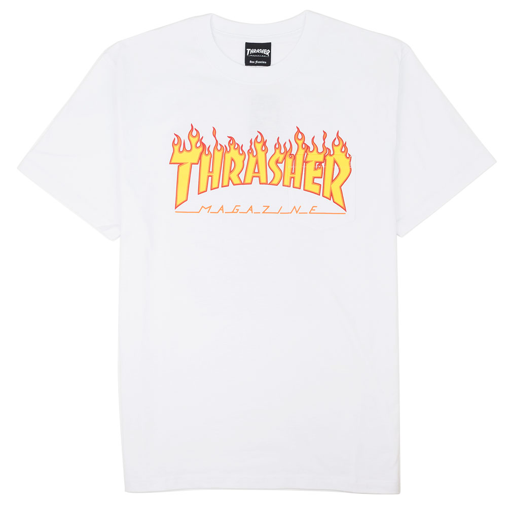 Thrasher (Japan) Burning Over S/S Pocket T-Shirt - White