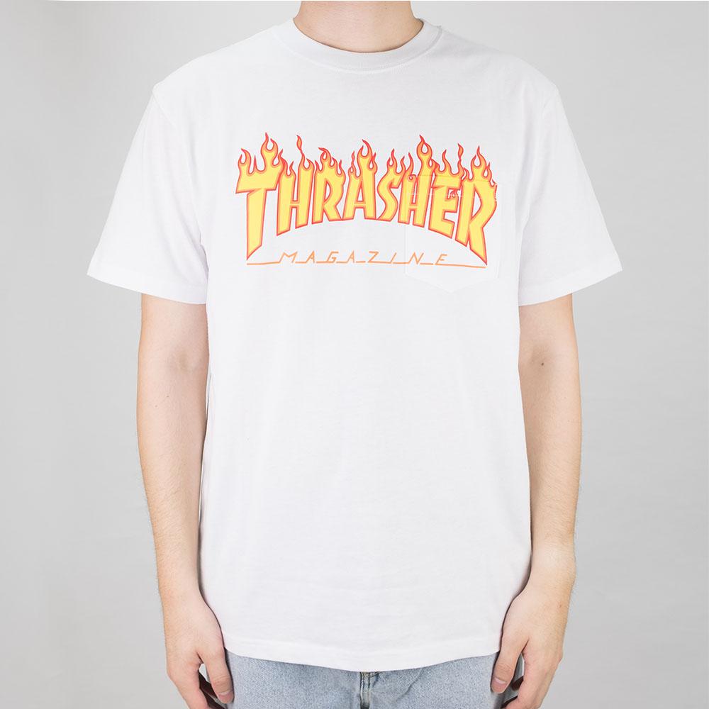 Thrasher (Japan) Burning Over S/S Pocket T-Shirt - White