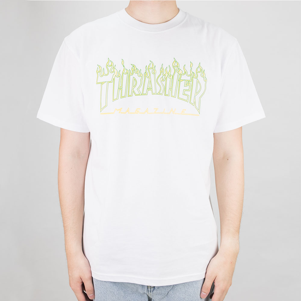 Thrasher (Japan) Green Outline Flame S/S T-Shirt - White