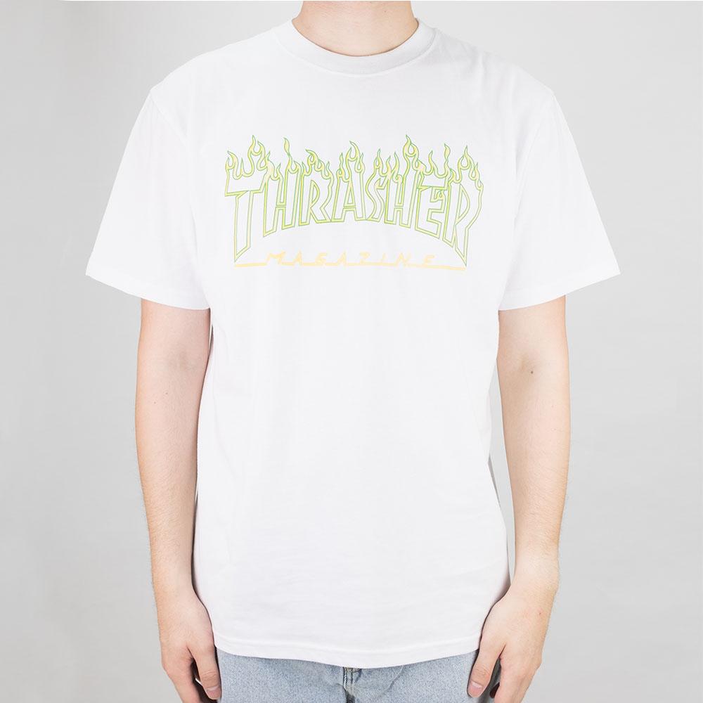 Thrasher (Japan) Green Outline Flame S/S T-Shirt - White