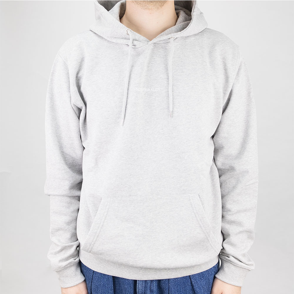 NN07 Barrow Print Hoodie - Light Grey Melange