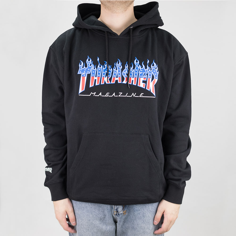 Thrasher (Japan) Flame Patriot Hooded Sweatshirt - Black 2