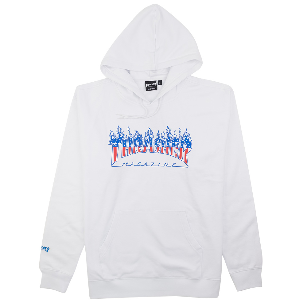 Thrasher (Japan) Flame Patriot Hooded Sweatshirt - White 1