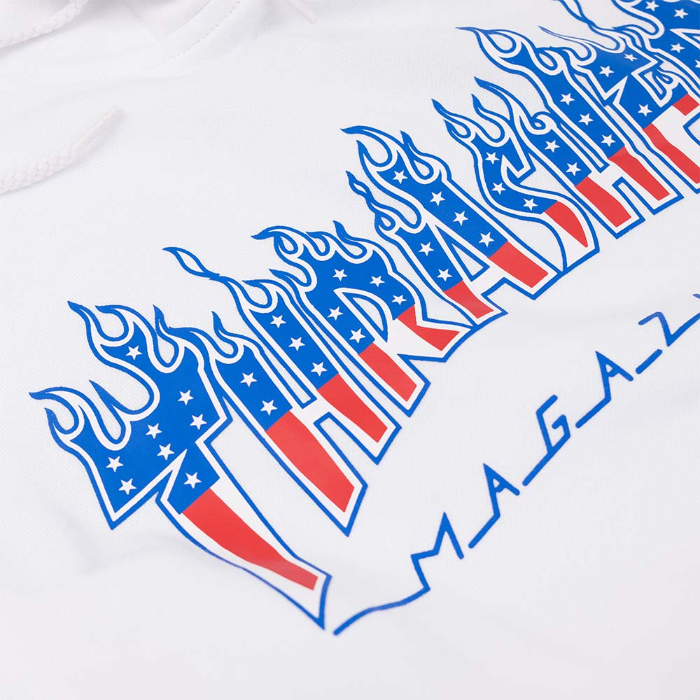 Thrasher (Japan) Flame Patriot Hooded Sweatshirt - White 4