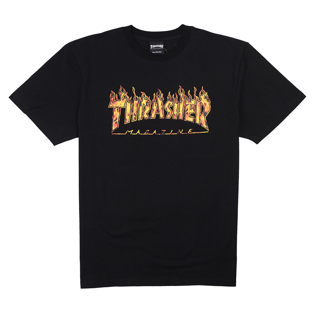Thrasher (Japan) Real Flame S/S T-Shirt - Black
