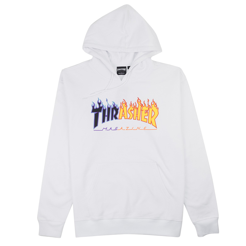 Thrasher (Japan) Reburn Flame Hooded Sweatshirt - White