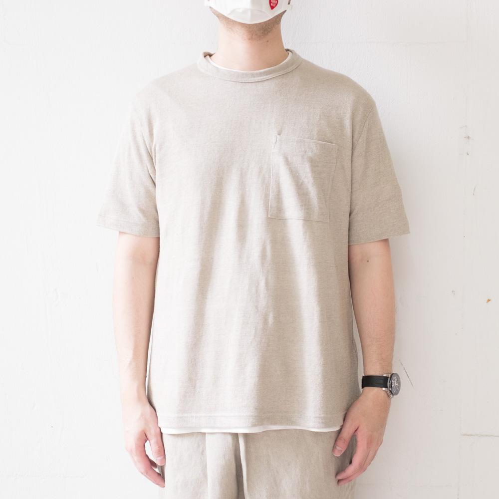 IKIJI Linen Pocket T-shirts - Beige