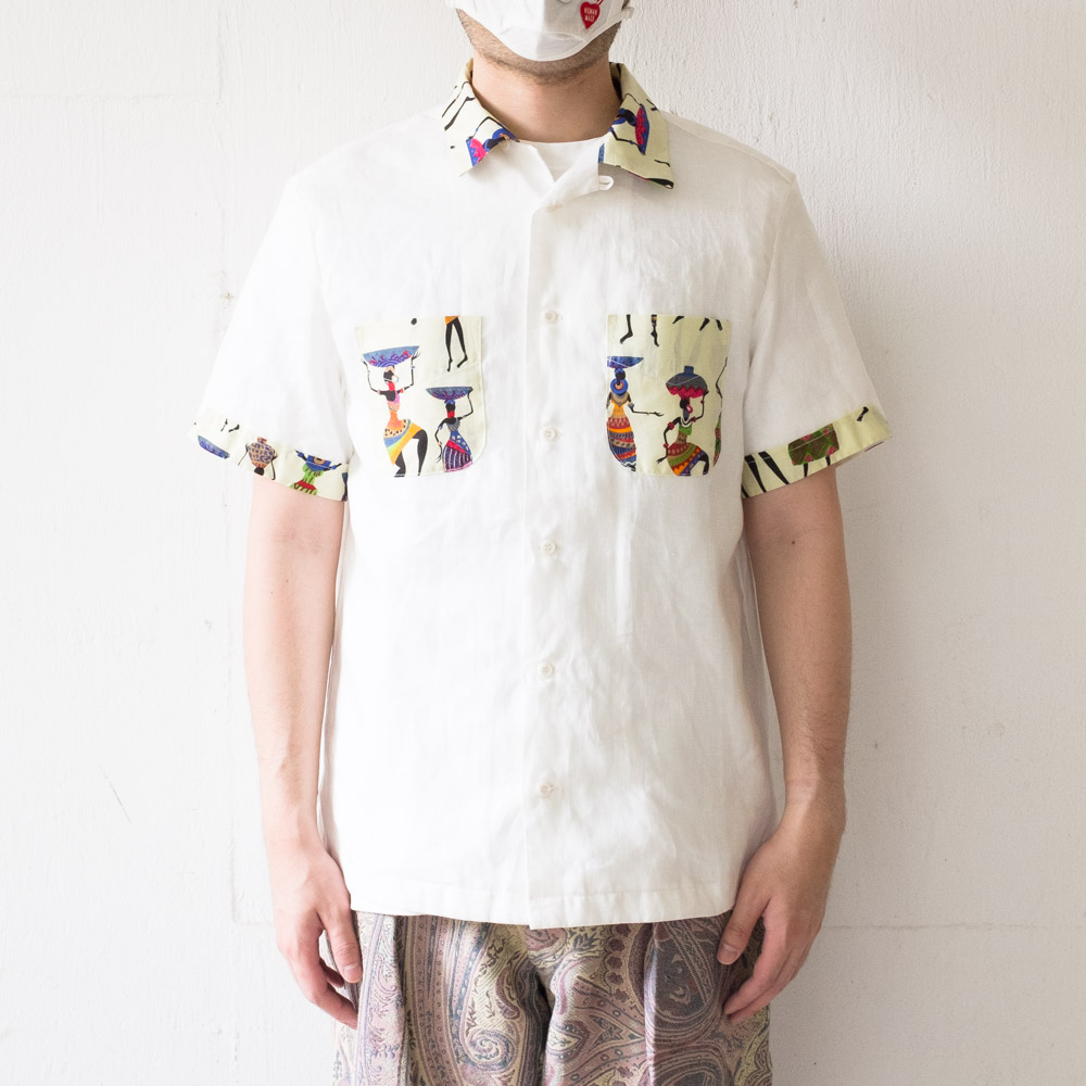 Monitaly Vacation Shirt - Lt Linen White X African Women
