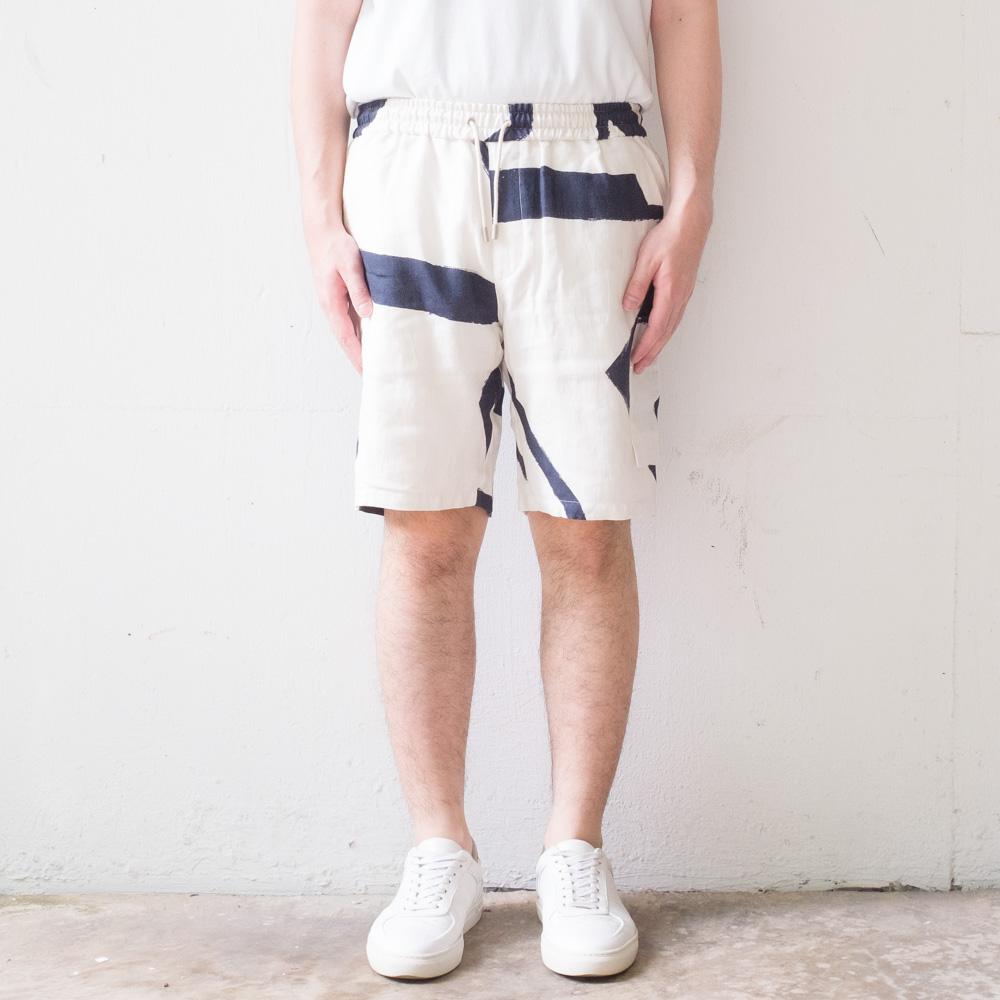 Folk Assembly Cargo Shorts - Border Print Navy Ecru
