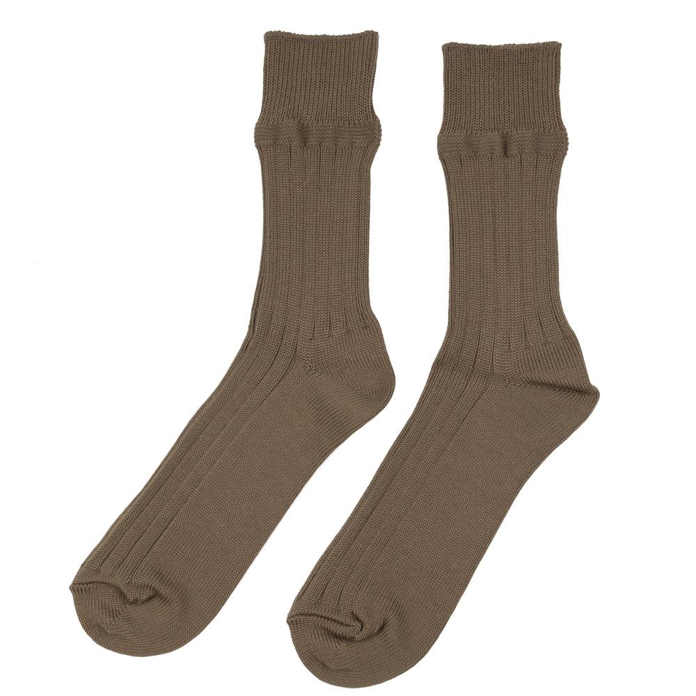 Kuro Egyptian Cotton Rib Socks - Khaki