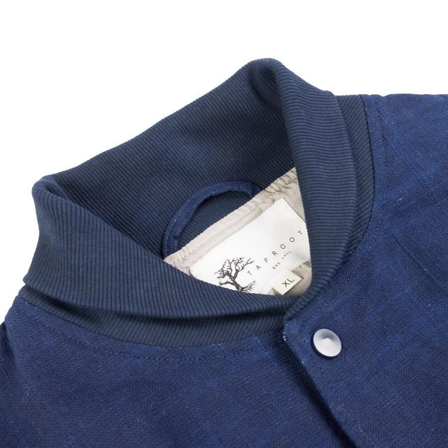 Taproot Hand Dyed Varsity Jacket - Deep Indigo