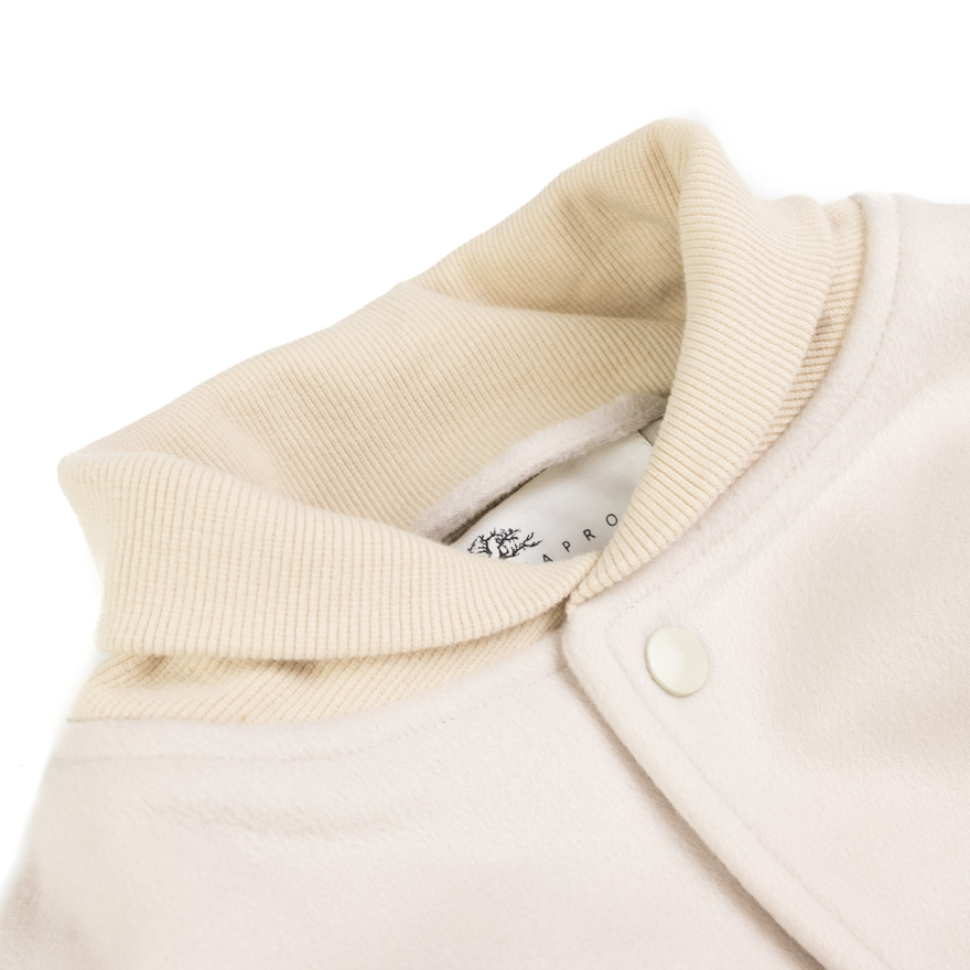 Taproot Varsity Jacket with Leather Sleeves - Beige