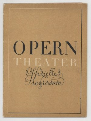 Opern Theater Offizielles Programm Tosca 17 September 1938