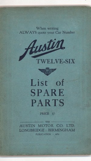 Austin Twelve-Six List of Spare Parts